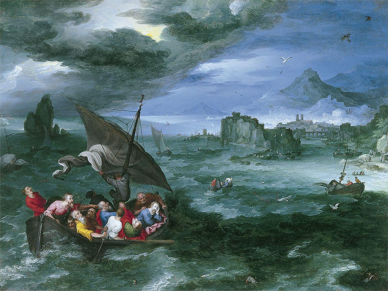 Brueghel Jan, Cristo nella tempesta del mare di Galilea, 1956