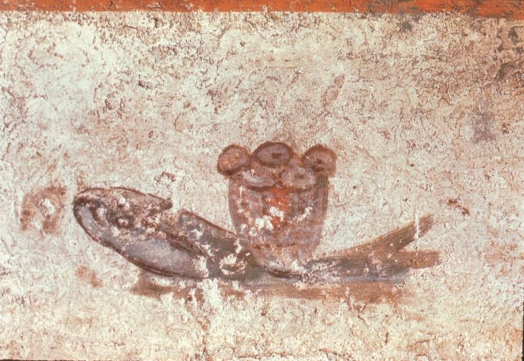 Raffigurazione dei 5 pani e 2 pesci nelle Catacombe di San Callisto a Roma