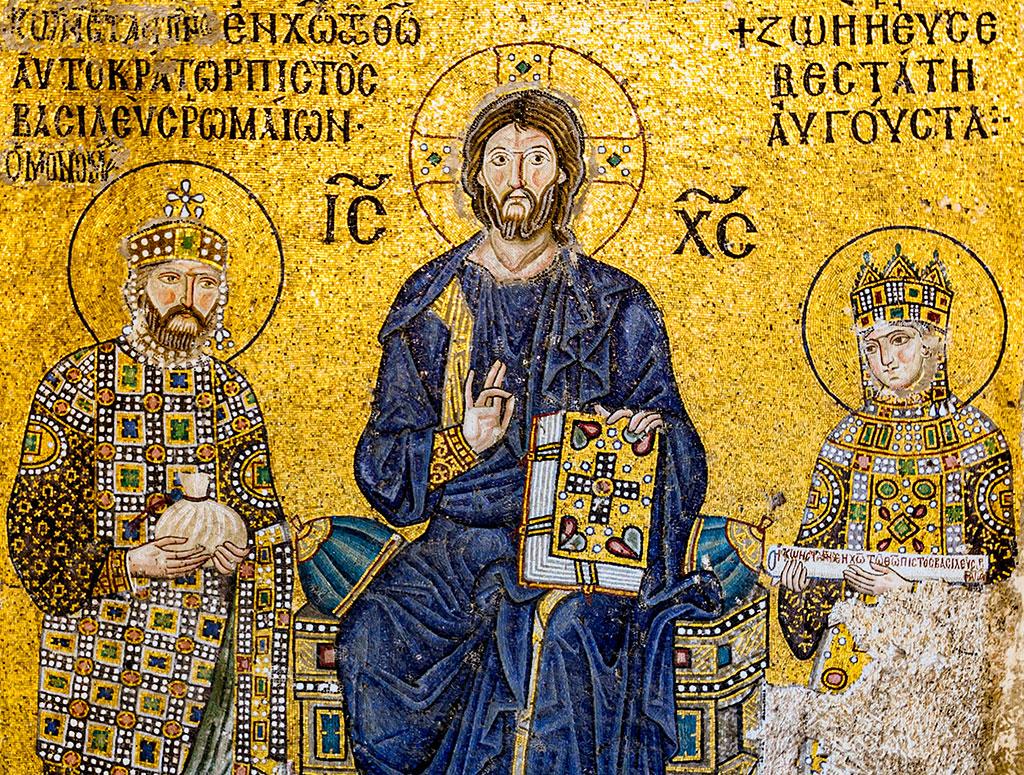 Particolare di mosaico rappresentante il Cristo Pantocratore